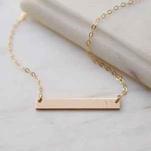 Jewelry - 14K Gold-Filled Initial Engraved Bar Necklace